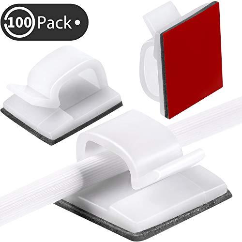 Blulu 100 Stücke Mini Outdoor Kabel Clips mit Klebebändern Licht Clips Dekoration Clips Selbstklebende Haken Drahthalter für Feenlicht (Weiß)