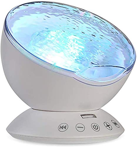 CRMY Proyector de luz Nocturna, Control Remoto Ocean Wave Luz Nocturna con Reproductor de música Incorporado Luz Decorativa LED con 7 Modos de iluminación,niños, Adultos, Dormitorio,cumpleaños