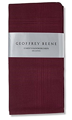 Geoffrey Beene 13 Pack Men's Fine Handkerchiefs 100% Cotton (Burgundy)