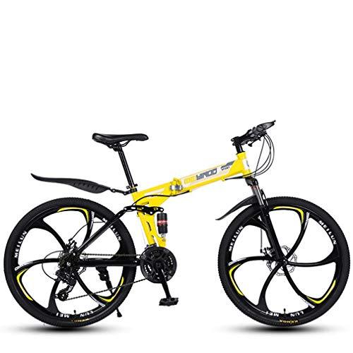 Fahrrad Folding Erwachsene Männer und Frauen Radfahren Mountain Bike MTB Rennräder Strand Snowmobile Fahrrad Cruiser Fahrräder 24 Geschwindigkeit 26 Zoll-Räder Gelb