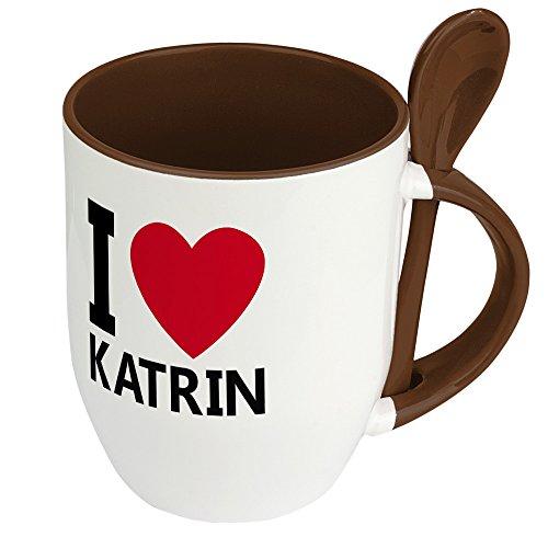 Namenstasse Katrin - Löffel-Tasse mit Namens-Motiv