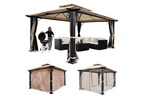 madera Pavillon Pergola Gartenzelt Gartenpavillon 4,5x3,5m Kunststoffdach Hardtop Alu