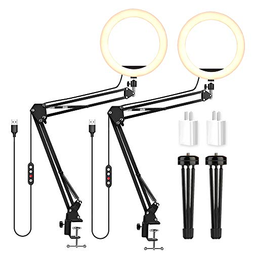LED Video Conference Lighting with Clamp Suspension Boom Scissor Arm Stand/Color Filters, Obeamiu 5600K USB Studio Light Kit for Photography, Portrait YouTube, Zoom Call, Live Streaming,2 Parks