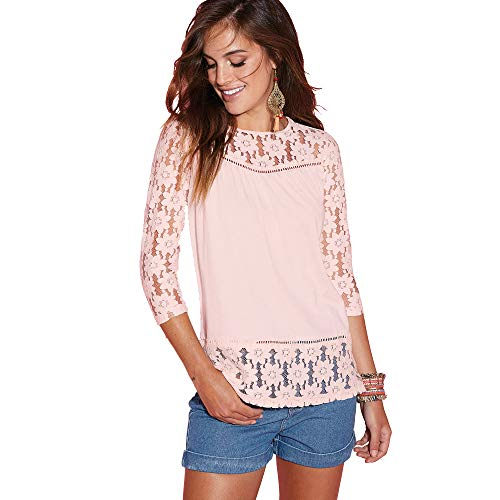 Camiseta con Encaje en canesú Mangas y bajo Mujer by Vencastyle - 022751,Rosa Nude,S