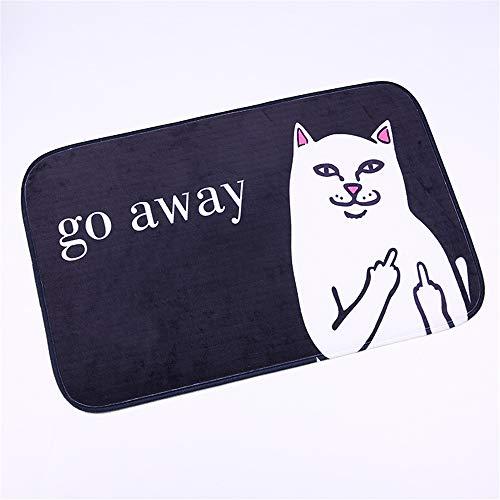 YSDDM Badmat Cartoon Cat Go Away Printen Tapijt Flanel Kat Met Midden Vinger Patroon Tapijt Badkamer Niet slip Mat Thuis Decoratie Deur Mat-in Tapijt van Huis & Tuin