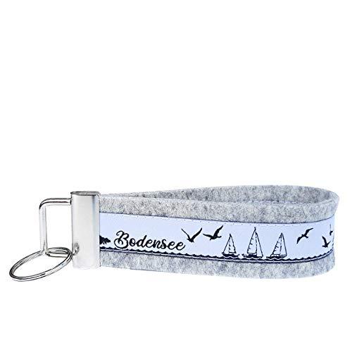 Schlüsselanhänger Schlüsselband Wollfilz hellgrau Webband Bodensee schwarz weiß Geschenk