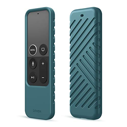 SITHON Silicone Case for Apple TV 4K / HD Siri Remote (1st Generation), Lightweight Shockproof Protective Cover for Apple TV HD (4th Gen) / 4K Siri Remote Controller (Prior to 2021), Midnight Blue