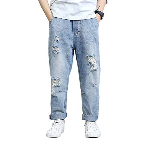 LAPLBEKE Bambino Cotone Strappato Jeans - Bambini Sciolto Denim Pantalone - Ragazzo Ragazzi All'aperto Scuola Elastico Vita Pantaloni Primavera Autunno Blu 12-13 Anni
