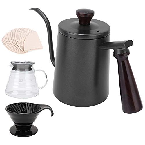 FASJ Juego de cafetera Pour Over, hervidor de café con Cuello de Cisne, Capacidad de 1 l, Taza de Filtro de café, Jarra de Vidrio, 1 Bolsa de Papel de Filtro, reemplazo máquinas de CAF