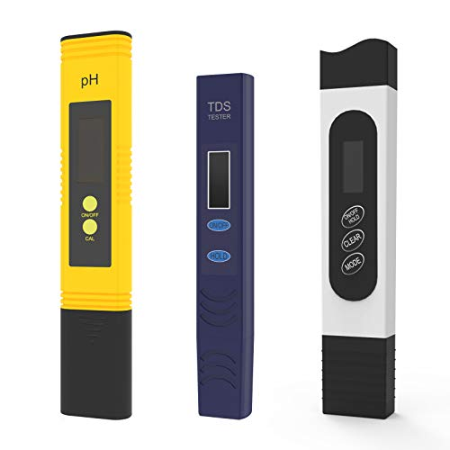 Fivota pH and TDS Meter Combo, 0.01 pH Accuracy pH Meter with ATC 0-14 pH Test Range, Temperature and TDS Test Meter Range of 0-9990ppm, 3 Meters Combo Ideal for Various Water Test Requirements
