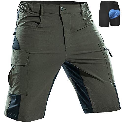 Cycorld Men's-Mountain-Bike-Shorts-Padded-MTB-Shorts-Cycling-Biking-Riding-Baggy-Pants Quick Dry, Lightweght with Pockets Army Green