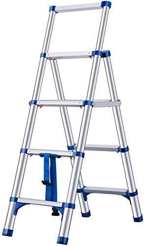YZH Scale Portatili Leggere Multi-Uso in Alluminio Multi-utilizzo Telescopico Step Ladder Pieghevole Portable Scaletta ingegneria STAIRSWITH Ruote (Color : Blue, Size : 4-Step)