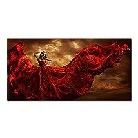 """ファッションセクシーな赤いスカートの女性キャンバス絵画ポスターとプリント壁アート写真リビングルームホームキッズオフィスDecor27.5""""x 55.1""""(70x140cm)フレームなし"""