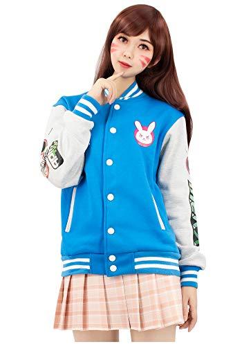 DAZCOS US Size Cotton Blue Baseball Letterman Jackets with Pockets (Women XX-Large)