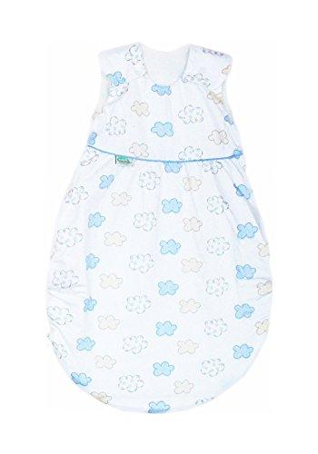 Odenwälder Klimasoft Schlafsack Tencel | Babyschlafsack & Sommerschlafsack für Jungen und Mädchen | leichter Schlafsack Pflegeleicht & atmungsaktiv, Größe:110, Design:Wolken blau
