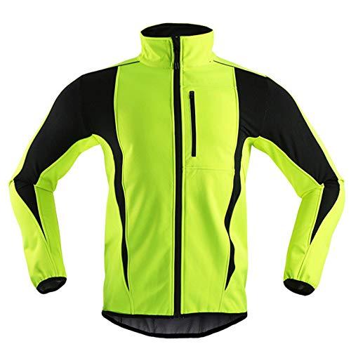 Fahrradjacke Damen Winter Thermo Fleece Winterjacke Herren Wasserdicht Atmungsaktiv Laufjacke Winddichte Radjacke Outdoor Sports Fahrrad Jacke,Grün,L
