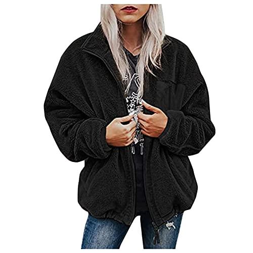 Womens Faux Wool Sweater Sweatshirt Faux Fur Autumn Winter Warm Zipper Fleece Lined Hooded Coat Parka Outwear