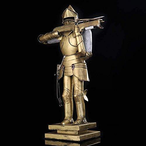 Escultura Estatua,Escultura de réplica de guerrero de ballesta de metal hecha a mano armadura de hierro estatua de caballero adorno de estatua accesorios artesanales decoración del hogar regal