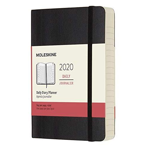 (modello precedente) - Moleskine 12 Mesi, anno 2020 Agenda Giornaliera, Copertina Morbida e Chiusura ad Elastico, Colore Nero, Dimensione Pocket 9 x 14 cm, 400 Pagine