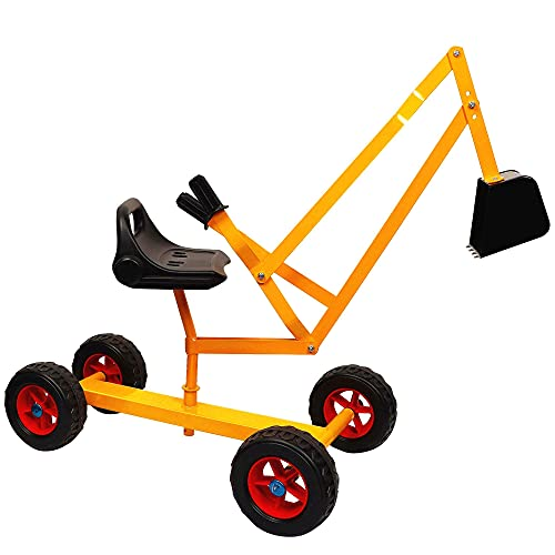 Glintoper Ride On Sand Digger with Wheels for Kids, Play Toy Excavator Crane with Rotatable Seat for Sand, Snow and Dirt, Heavy Duty Steel Digging Toys for Boys Girls Outdoor