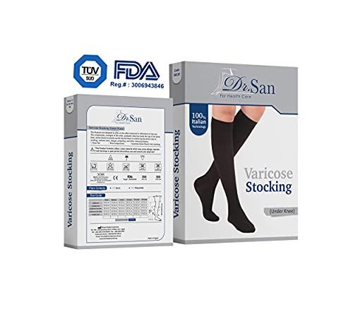 Dr. SAN® Medias de compresión médica certificadas de calidad (20-30 mmHg, 280 deniers, clase 2) para hombre y mujer – Medias de apoyo para vuelo y embarazo – Medias de compresión hasta la rodilla