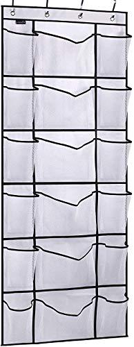 MISSLO Over the Door Shoe Organizer with 6 Extra Large Mesh Storage Pockets Hanging Shoe Holder Hanger White