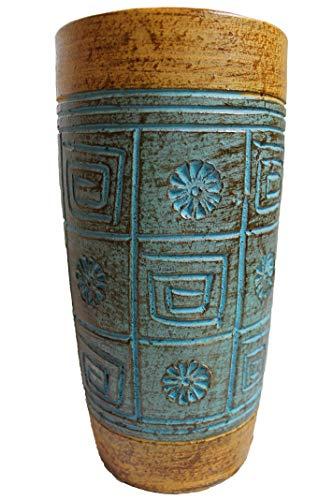 Rotfuchs Vase Tonvase Terracottavase Blumenvase aus Ton 26 cm Handarbeit Dekoration Zubehör in Türkisblau Gold