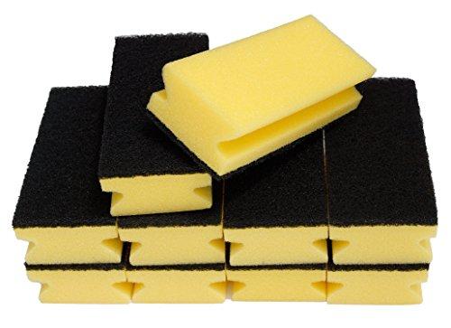 Sonty 10 Stück Topfreiniger Jumbo XL, Schwamm schwarz (gelb, 15 x 7 x 4 cm)