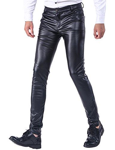 Idopy Sommer dünne Winter Dicke Herren Business Slim Fit Kunstleder Hosen Jeans Lederjeans Dick, 38W / 30L, Black