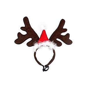 XuBa Serre-tête de Noël pour Animal Domestique en Corne de cerf