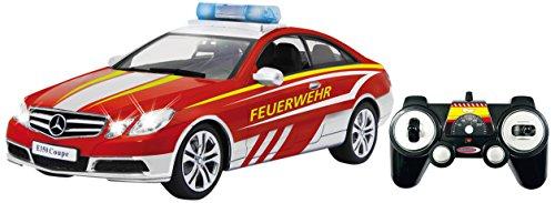 JAMARA 405129 Mercedes E350 Coupe 1: 16 Feuerwehr Weiß/Rot 2, 4G-Deutsche Sirene, Blaulicht, Alarmanlage, Startton, Beschleunigungston, Bremston, Hupe, Zusperrton, Blinker, 5-10km/H
