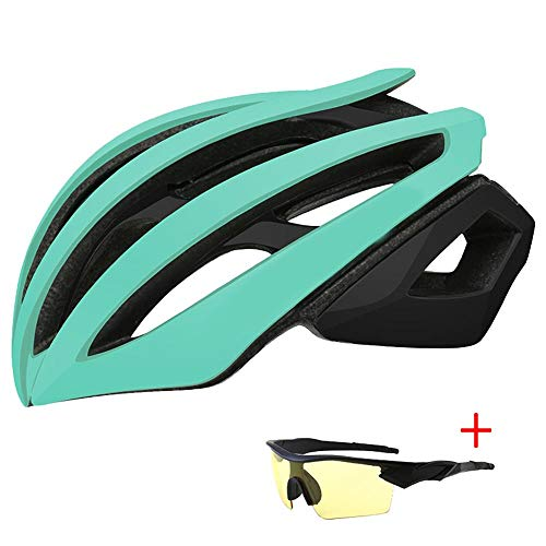 Helmet YKBBA Bicycles for Adults Specialized Helmets Ultralight MTB Aerodynamic Mountain Road Bike Racing Cycling Helmet L(58-61CM) LakeGreen