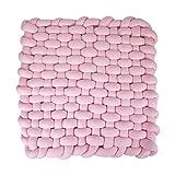 Triclicks Kids - Alfombrilla de peluche trenzada hecha a mano con nudos para el suelo, alfombrilla de juego suave para dormir, alfombra de bebé antideslizante para gatear(rosa)