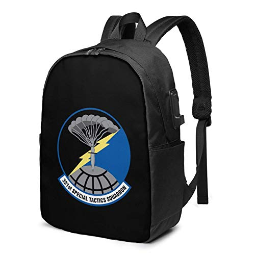 Lsjuee 321st Special Tactics Squadron Travel Laptop Backpack with USB Charging Port for Women Men School College Students Backpack Fits 17 Inch Laptop