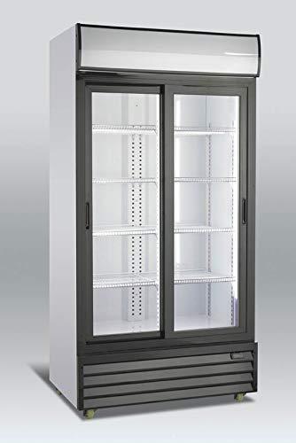 Refrigerador Vitrina dos puertas corredera Scandomestic SD1001-1SL - Nevera- Botellero gran capacidad para bebidas, Volumen 754L, Funcionamiento silencioso, Puerta de cristal, Iluminación LED