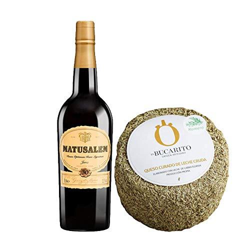 Pack de Vino Oloroso Dulce Matusalem y Queso Curado de Leche Cruda en Romero - Vino de 75 cl y Queso de 900 g aprox - Mezclanza