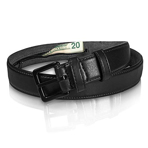 Genuine Leather Travel Money Belt - Metal Free w/ Anti-Theft Hidden Money Pocket - Like a Funny Pack but a lot more Elegant - Black 33'