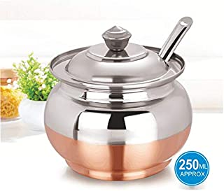 PRC Stainless Steel Oil and Butter/Ghee Pot with copper bottom - 400ML - 7.5cm Diameter