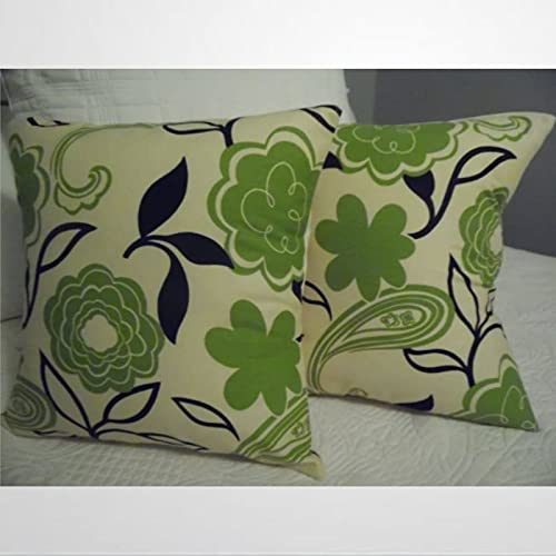 BYRON HOYLE Funda de almohada moderna floral verde negro marfil patrón floral fundas de almohada natural decoración verano conjunto de 2 fundas de almohada rústica decoración del hogar sz398