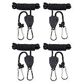"MAXSISUN 1/8"" Adjustable Heavy Duty Rope Clip Hanger, Grow Light Ratchet Hanger, 150lbs Weight Capacity (2 Pairs Hangers)"