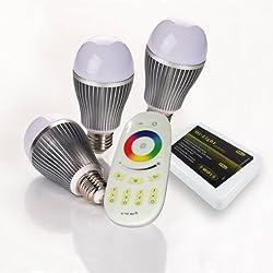 3x Wlan LED Lampe RGB-Weiß, 9 Watt, mit 4-Zonen Fernbedienung, E27, inkl. Wlan Controller und USB-Netzstecker) von ROCKET LEDS