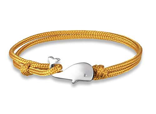 Miniblings Pulsera de ballena amarilla – Original Fashion Jewelry I Ballena Pez Esperma Ballena de la suerte Charm Sea Ocean Yellow Cord – Pulsera de cordón ajustable