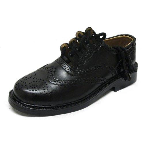 Tartanista Herren Ghillie-Brogue-Schuh aus Leder Schwarz 46 EU