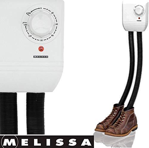 Melissa 16540009 Schuhtrockner elektrisch, Schuhwärmer für Stiefel, Gummistiefel und Handschuhe, Trockner für Wanderschuhe oder auch Skischuhe, Heizung mit Gebläse und Zeitschaltuhr für 1 Paar Schuhe