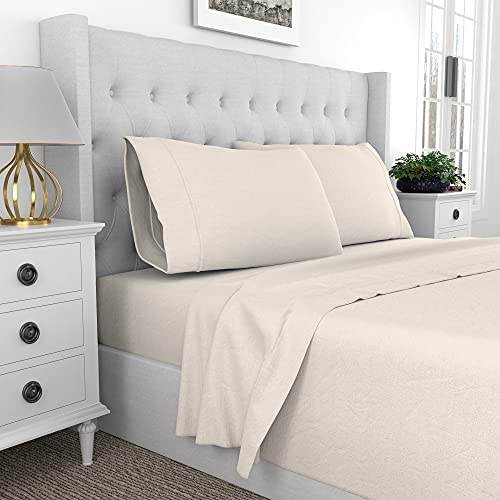 Purity Home 300 Thread Count 100% Combed Cotton 3 Piece Bed Sheet Set, Luxury Twin Sheets Percale Weave, Moisture Wicking, Cool Crisp & Breathable,Patented Fitted Sheet Fits Upto 18' Deep Pocket,Ivory