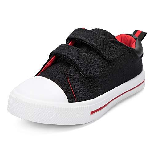 K KomForme Toddler Boys & Girls Shoes Canvas Sneakers for Little Kids Black
