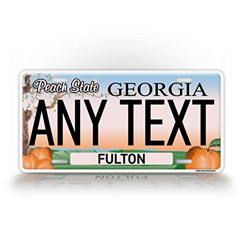 SignsAndTagsOnline Custom Georgia Peach State License Plate GA Replica Personalized Text Novelty Auto Tag