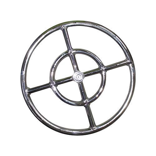 Meter Star 12' Round Fire Pit Burner Ring 1 Set, 304 Series Stainless Steel, BTU 92,000 Max,Propane Fire Pit Ring Burner,Fire Pit Round Burner