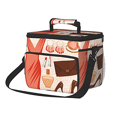 Insulated Lunch Box Reusable Tote Bag Large Lunch Bag Accessories Fashion Cocktail Dress Lipstick Earrings High Heels Theme Picnic basket