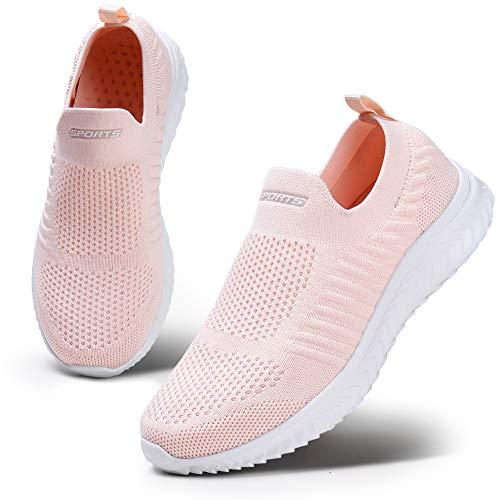 HKR Damen Atmungsaktiver Trainer Bequeme Sneaker Sportschuhe Leichte Wanderschuhe Mesh Laufschuhe Pink 40 EU